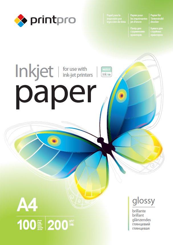 Бумага PrintPro глянцевая 200г/м, A4 PGE200-100_OEM