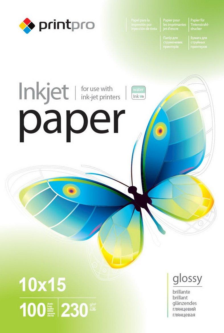 Бумага PrintPro глянцевая 230г/м, 10x15 PG230-100