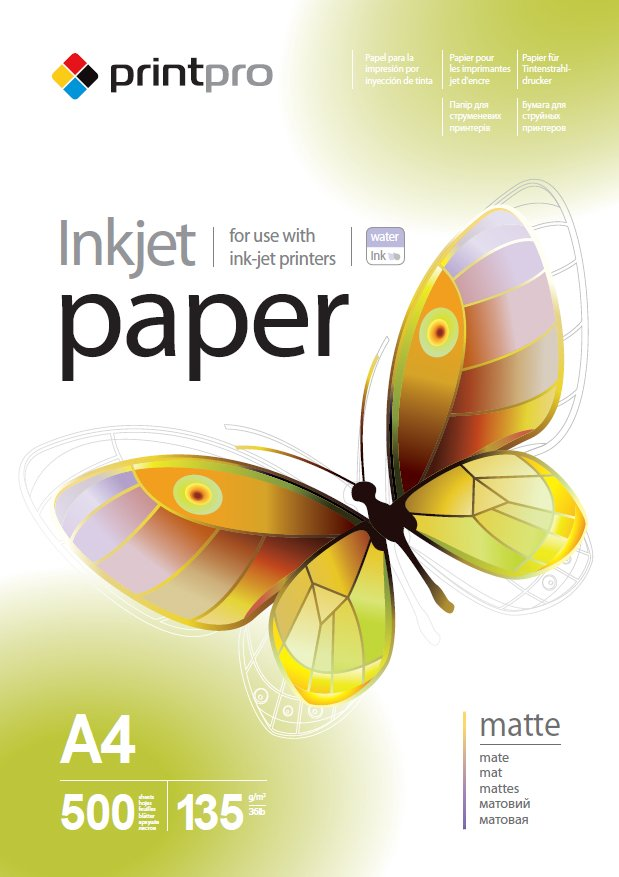 Бумага PrintPro матовая 135г/м, A4 PM135-500_ОЕМ